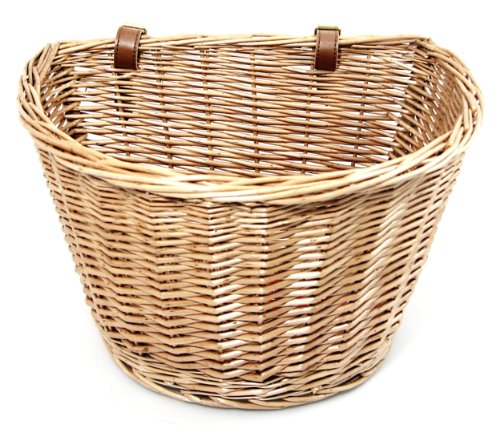Front Wicker Bike Basket: Retro, Handmade Basket with Leather Straps