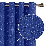 Deconovo Lot de 2 Rideaux Occultants Bleu Roi Isolant Thermique Rideaux a Oeillets Motif de Lossange Imprimés Argents pour Enfant Rideaux Chambre 140x175cm