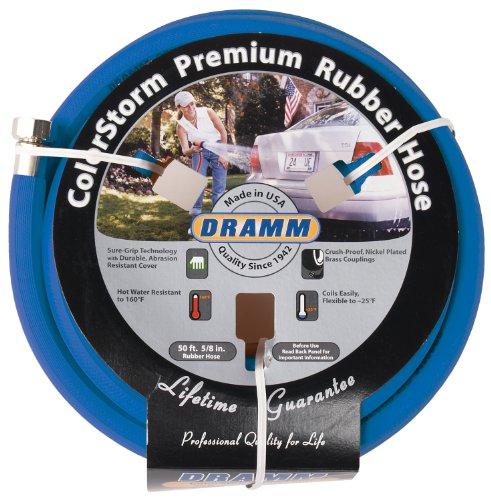 "Dramm 17005 ColorStorm Rubber Garden Hose, 5/8"" x 50', Blue"