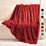 Yusoki Thick Red Faux Fur Throw Winter Blanket,2 Layers,50' x 60',Soft Fluffy Plush Fuzzy Cozy Furry Blanket for Sofa Chair Living Room Adults Pets Toddler