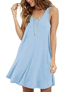 VIISHOW Women's Casual Swing Simple T-Shirt Loose Dress (L, Light Blue)
