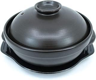 The Elixir Korean Premium Ceramic Cooking Hot Pot DolSot Bibimbap Stone Bowl Earthenware Korean Soup Food with Lid (Small, 0.6 Quart)