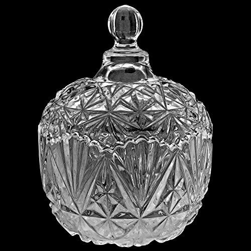 MyGift Multipurpose Antique Design Glass Candy Jar with Lids/Decorative Nut Bowl Centerpiece Display