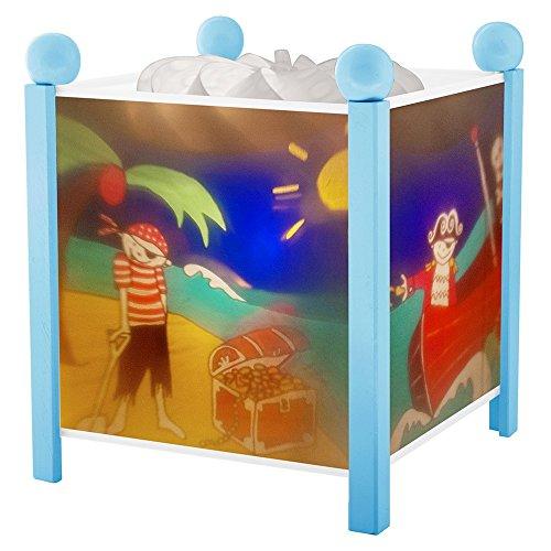 Trousselier - Pirat - Nachtlicht - Magische Laterne - Ideales Geburtsgeschenk - Farbe Holz blau - animierte Bilder - beruhigendes Licht - 12V 10W Glühbirne inklusive - EU Stecker