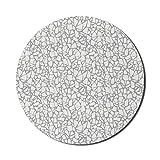Alfombrilla de ratón abstracta para ordenadores, suelo de terrazo, cerámica, estilo artístico, fractales, sin forma, fragmentos geométricos, redonda, antideslizante, de goma gruesa, moderna alfombrill