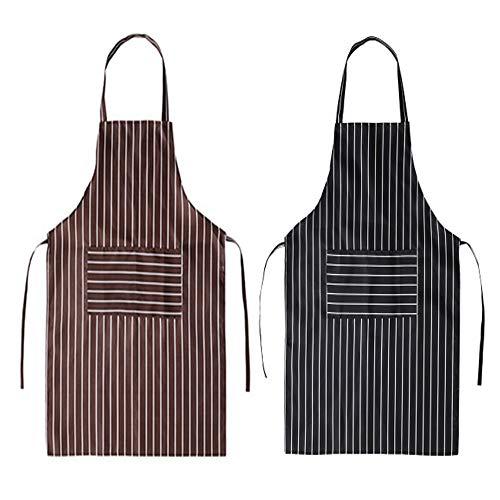 Sprießen Delantal de Cocina de 2 Piezas, Delantal de Barbacoa de Algodón 100%, Delantal Masculino y Femenino Adecuado para Barbacoa, Cocina, Restaurante y cafetería(Blanco y Negro y marrón)