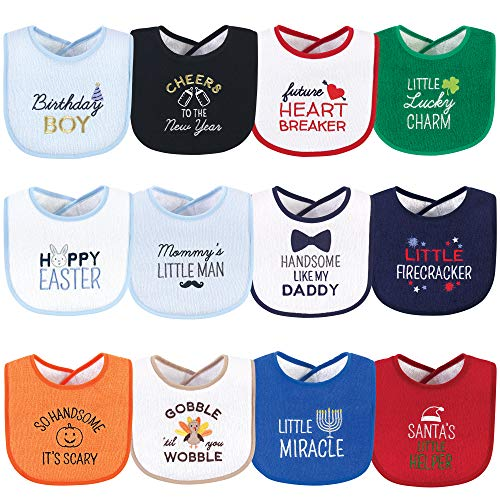 Hudson Baby Unisex Baby Cotton Terry Drooler Bibs with Fiber Filling, Cute Boy Holiday Sayings, One Size