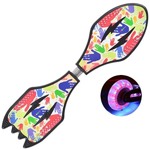 Waveboard mit Tasche und Leuchtrollen,Streetboard mit ABEC-5 Kugellager, Form:Fledermaus und Rakete,80cm x 23cm, bis 85kg belastbar (Mehrfarbig)