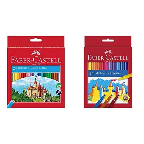 Faber-Castell Fighting Knights 111224 - Lápices de, color es en caja de cartón (24 unidades) + 554224 - Estuche de cartón con 24 rotuladores escolares, punta de fibra, multicolor