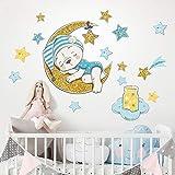 R00543 Pegatina Vinilo Pared Suave Efecto Tejido Decoración Niño Bebé Habitación Infantil Guardería Papel Pintado Autoadhesivo Oso Luna Sueño