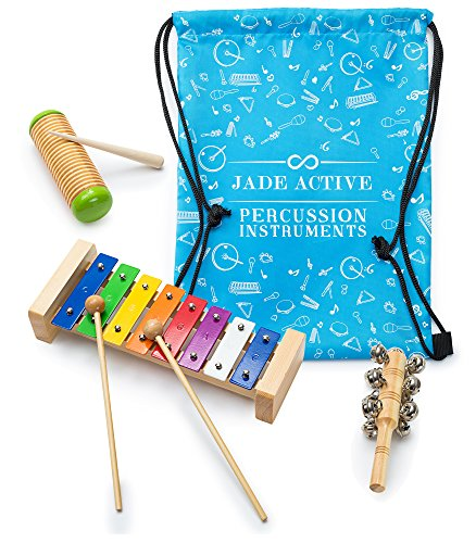 Xylophone Percussion Set for Kids - Unique Xylophone - Sleigh Bell + Guiro Shaker Set for Kids, Musical Toys for Children to help them learn