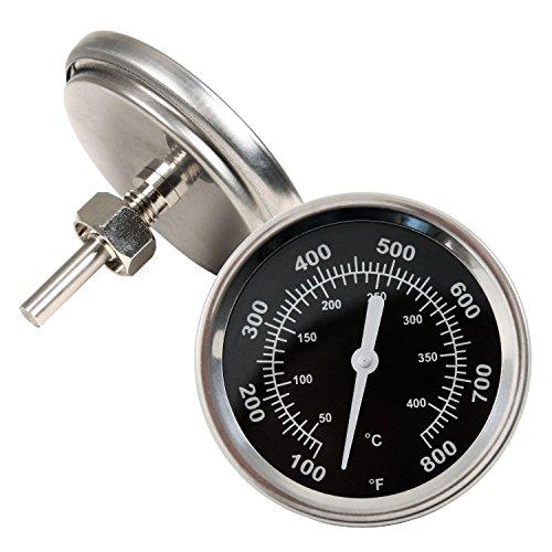 BBQ-Toro Grillthermometer bis 400 °C, Thermometer für alle Grills, Smoker, Räucherofen und Grillwagen, analog, Grillzubehör (Anzeige: Celsius und Fahrenheit)
