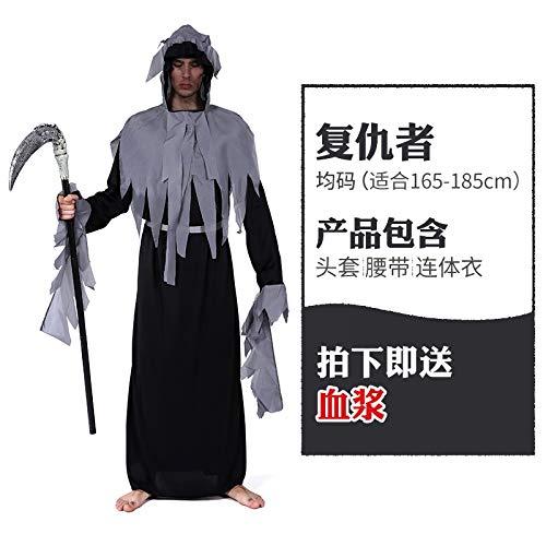 MYing Halloween-Kostüm männliche Erwachsene Tod Sichel Cosplay Spielen Geist Kostüm Zombie Vampir Horror Kleidung-21