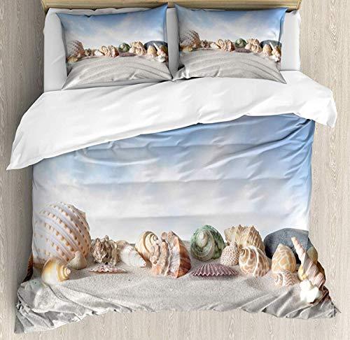 Skal påslakan set liten dubbel storlek, ömtåliga snäckskal på sandbacken med himmel bakgrund kusttema sommar strand foto, dekorativt 3-delat bäddset med 2 kuddskum, flerfärgad