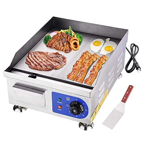 """Yescom 1500W 14"""" Electric Countertop Griddle Flat Top Commercial Restaurant BBQ Grill"""