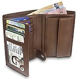 """TRAVANDO ® Geldbörse Herren """"ROME"""" mit RFID Schutz, Geldbeutel braun, Portemonnaie, Brieftasche im Hochformat, Herrengeldbeutel, Herrenbörse, Herrengeldbörse, Herrengeldbeutel, Wallet mit Münzfach"""