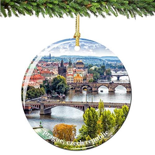 JamirtyRoy1 Czech Republic Prague Christmas Ornament, Porcelain Prague Christmas Ornaments City Souvenir Ceramics Christmas Tree Decoration Keepsake Gift, 3' Christmas Ornament