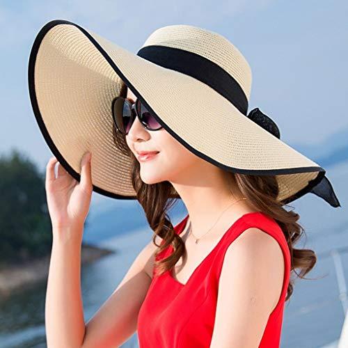 YDS Shop Zonnehoed voor dames, strandtent, zwarte hoed, opvouwbaar, zonwering, trilby vizier, winddicht Beige
