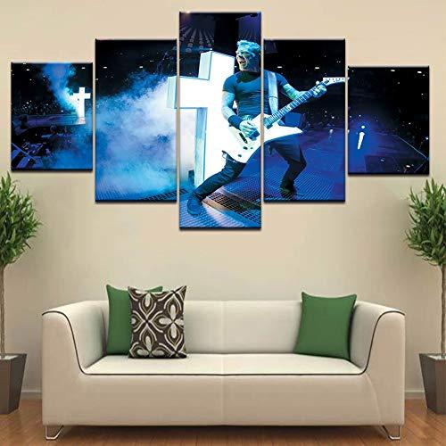 XLST 5 Stücke Leinwanddrucke Metallica Band Concert Poster Wandkunst Für Hauptdekorationen,B,40X60X240X80X240X100X1