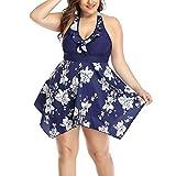 Maillot De Bain Grande Taille Été Motif Floral Dames Irrégulière Vêtements de Fiesta Tankini Maillots De Bain Mode Élégante Rapide Trockend Maillots De Bain Essential ( Color : Azul , One Size : 6XL )