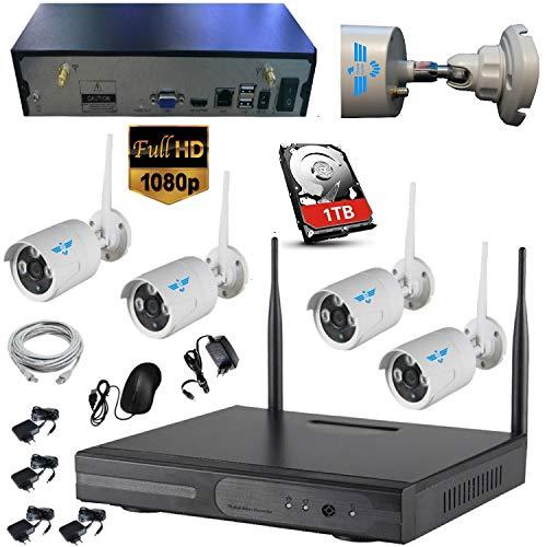 ITALIAN ALARM SUPERKIT, Kit Videosorveglianza Wireless NVR 8 CANALI + 4 Telecamere 1080P 2.0 MP (una audio) da Esterno, HDD 1TB, Night Vision, 2 USB, Antenne Removibili. 50mt senza muri. ASSIST ITALIA