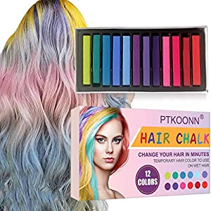 Cabello Tiza, Tiza de Pelo, Tiza para el Cabello, Coloración temporal Cabello, Hair Chalk Set, 12 Colores Temporal Tiza de Pelo No Tóxicas Lavables Color de Tiza Para Niños DIY Fiesta y Cosplay