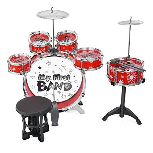 Reditmo Schlagzeug Kinder Komplettset Drum Kinder Set Musikinstrument Schlagzeug mit 6 Trommeln, Becken, Stuhl, Kick Pedal, Drumsticks, Hocker, Rot