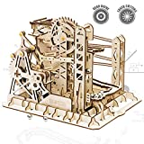 ROKR 3D Assembly Wooden Puzzle Brain Teaser Game Mechanical Gears Set Model Kit Marble Run Set Unique Craft Kits Christmas/Birthday/Valentine's Gift for Adults & Kids Age 14+(LG503-Lift Coaster)