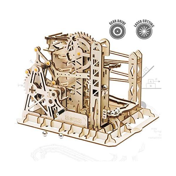 ROKR 3D Assembly Wooden Puzzle Brain Teaser Game Mechanical Gears Set Model Kit Marble...