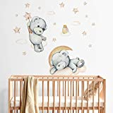 R00576 - Adhesivos murales con diseño de estrellas, oso y luna nubes, decoración de pared, habitación infantil, guardería, dormitorio - Papel Pintado Adhesivo Efecto Tela