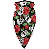 2149 Máscara facial y polaina para cuello de calaveras y rosas, media pasamontañas, calentador de cuello de forro polar para hombres y mujeres