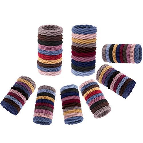 Limewie Lot de 80 élastiques à cheveux en coton sans couture pour queue de cheval sans plis 4 styles