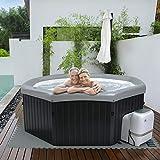 Miweba MSpa Tuscany F-TU061 - Jacuzzi hinchable, efecto madera, incluye generador de ozono y purificación de agua UV-C, 138 chorros de aire (6 personas)