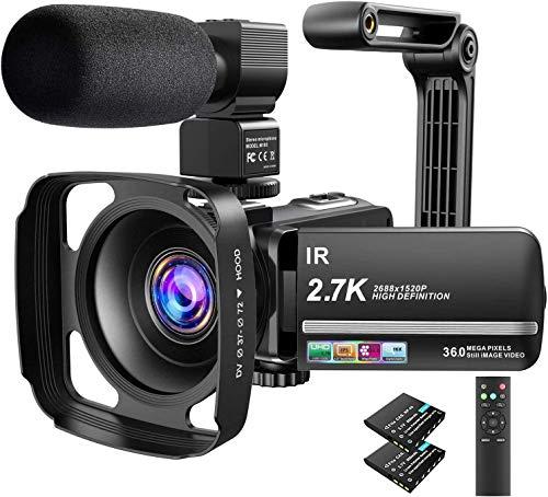 Videokamera Camcorder UHD 2.7K IR Nachtsicht YouTube Vlogging Kamera 36MP 3.0 '' Touchscreen 16X Digital Zoom mit Mikrofon, Fernbedienung, Gegenlichtblende, Handstabilisator der Kamera,2 Batterien