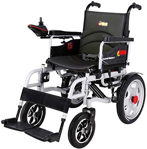 Silla de Ruedas eléctrica Plegable, Silla de ruedas eléctrica for trabajo pesado, plegable y ligero silla de ruedas eléctrica, Anchura del asiento 45 cm, 360 ° palanca de mando, capacidad de peso 150K