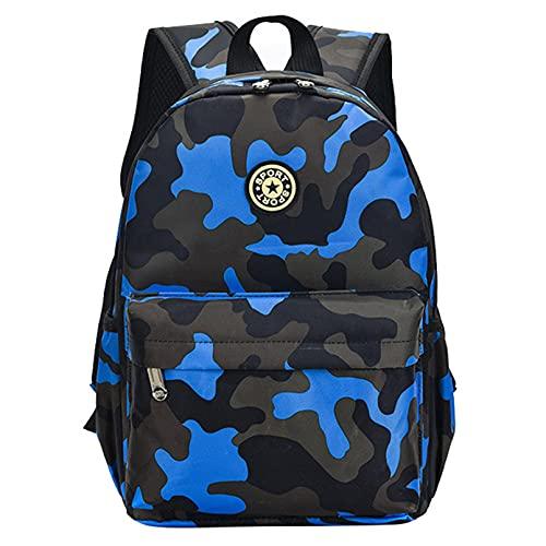 LERDBT Mochila escolar impermeable de camuflaje, mochila escolar para niños y niñas, diseño de camuflaje, color azul