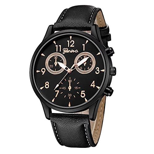 ZFAYFMA Reloj para hombre, reloj de cuarzo puntero de acero inoxidable fecha de negocios casual moda de lujo impermeable regalo de cumpleaños multifunción dial correa de cuero señoras niños 2