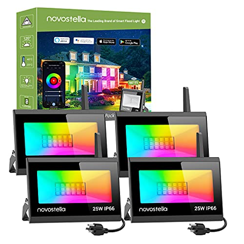 Novostella 25W Blaze Smart LED Flood Lights, RGB, Second-Generation WiFi Outdoor Dimmable Color Changing Stage Light, IP66 Waterproof, Multicolor Wall Washer Light, Work with Alexa, 4 Pack