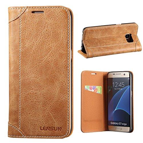 LENSUN Samsung Galaxy S7 Edge Hülle, Handyhülle Handytasche Samsung Galaxy S7 Edge (5.5 Zoll) Leder Tasche Huelle Flip Case Ledertasche Schutzhülle – Braun (S7E-DX-BN)