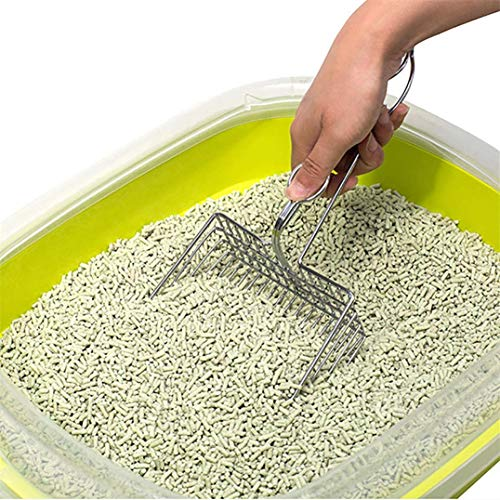 Heyzen 2020 Stainless Steel Cat Litter Shovel Saves Time & Reduces Dust,Large Area, Hollow Design,Essential Tools for Keeping Pets