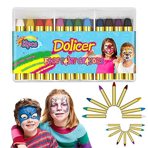 Dolicer 12 Colors Face Paint Crayons for Kids and Adults Non-toxic Face Crayon Sticks Body Crayons Safe for Sensitive Skin Birthday Party Halloween World Cup Carnival Easter Cosplay Suppiles