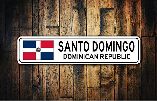 YelenaSign Dominikanische Republik Flagge Schild Dominikanische Republik Souvenir Dominikanische Republik Geschenk Land Souvenir Stadt Souvenir - Blechschild 40 x 10 cm