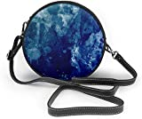 BAODANLA Bolso redondo mujer Beautiful Blue Watercolor Women Soft Leather Round Shoulder Bag Zipper Circle Purses Sling Bag
