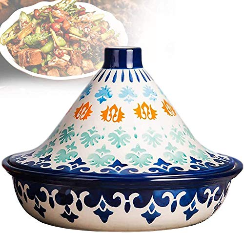Tagine Pot Hand Painted Ceramic Moroccan Tagine Pot Lead Free for Cooking and Stew Casserole Slow Cooker Tajine Cooking Pot with Lid 1.4 Quart,Dark Blue