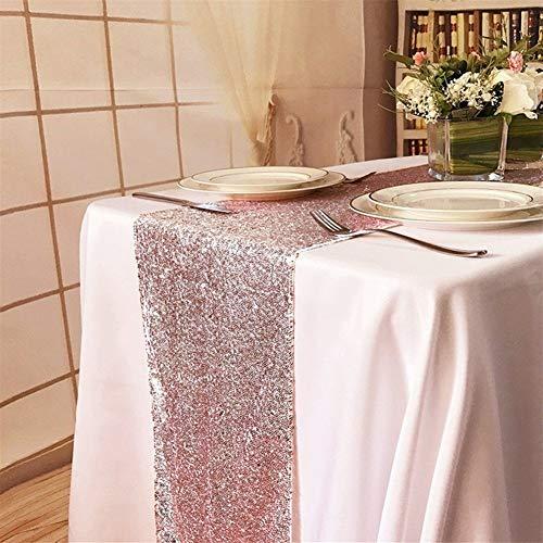 Xiaoxiaoyu Tafelkleed tafelvlag 1 Stuk 30X275cm Rose Goud Sequined Tafelvlag voor Party Tafelkleed Bruiloft Decoratie Tafelloper Tafelvlag Groothandel