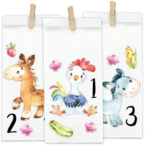Papierdrachen DIY Adventskalender zum Befüllen - Waldtiere 2019 - Direkt zum Aufkleben und selber basteln - mit braunen Tüten und Klammern - Verschiedene Tiere