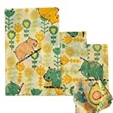 Beeswax Food Wrap Set of 3 Pack Reusable Eco-Friendly Sandwich & Food Wrap Alternative to Plastic Wraps Sustainable Organic Wrap -1 Small 1 Medium 1 Large in Hippo and floral Print with String (Hippo)