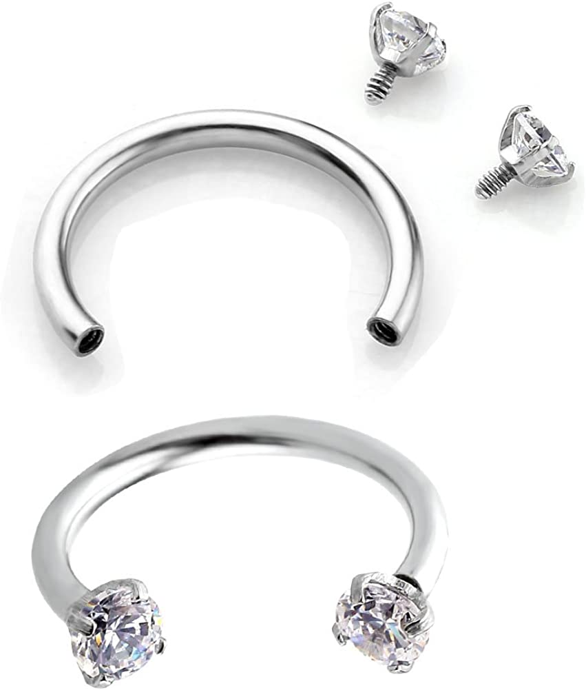 PiercingJ 2-6pcs 16G Clear Cubic Zirconia Stainless Steel Horseshoe Hoop Multi-Functional Captive Ring for Nose Daith Lip Eyebrow Nipple Ear Cartilage Helix Septum