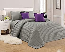 Compressed Two-Sided Color 6 Pieces Comforter Set, King Size, Si-Pu2,