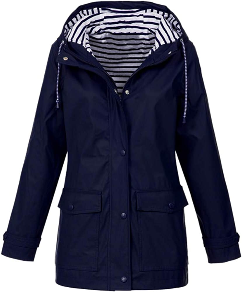 Limsea Women's Rain Jacket Lightweight Packable Outdoor Coat Windproof Hoodies Drawstring Button Pokets